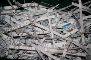 shredding papers